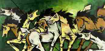 2007 Maqbool Fida Husain Large Horses Painting