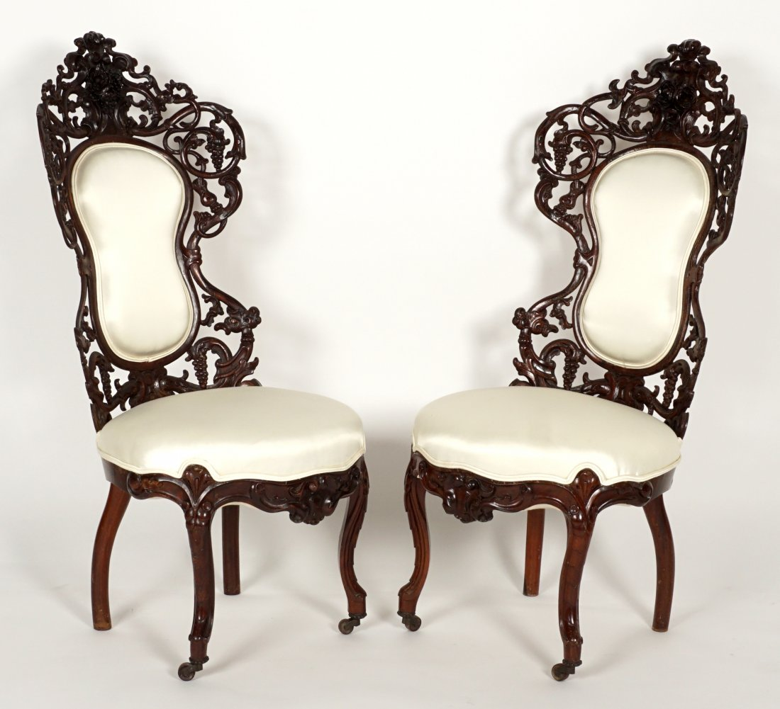 Pair Attrib. Belter Bird Pattern Parlor Chairs