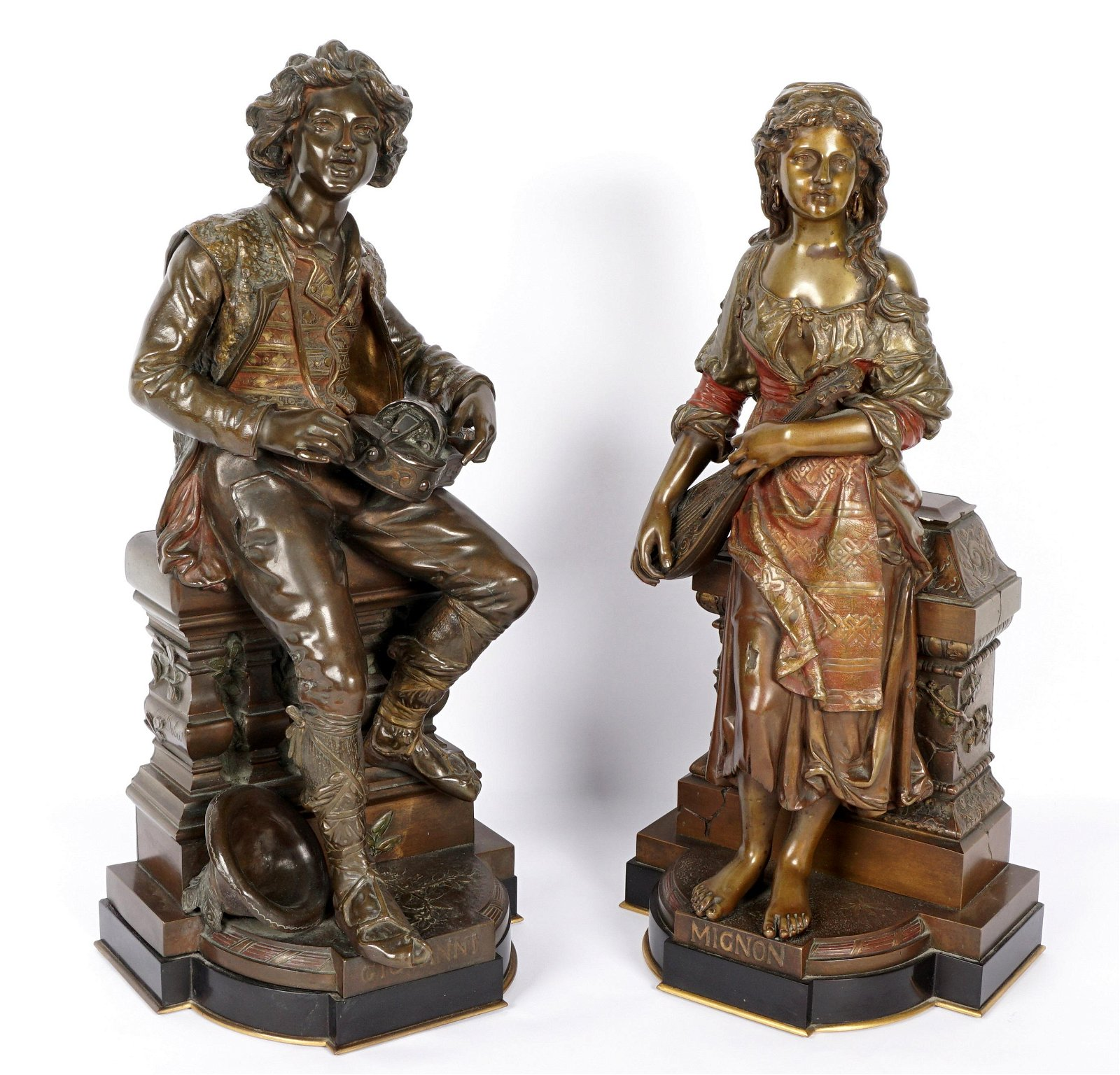 Pair Jean Didier Debut Bronze Sculptures