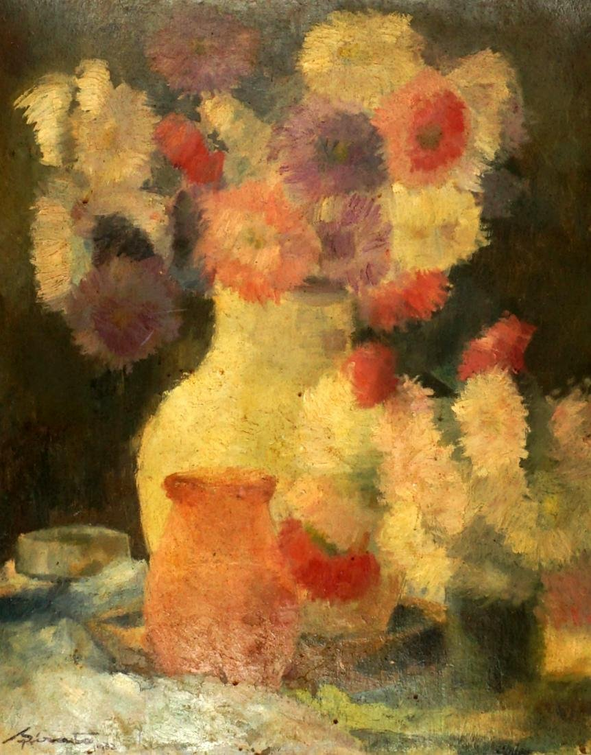 1932 Fransisc Sirato Floral Still Life Painting