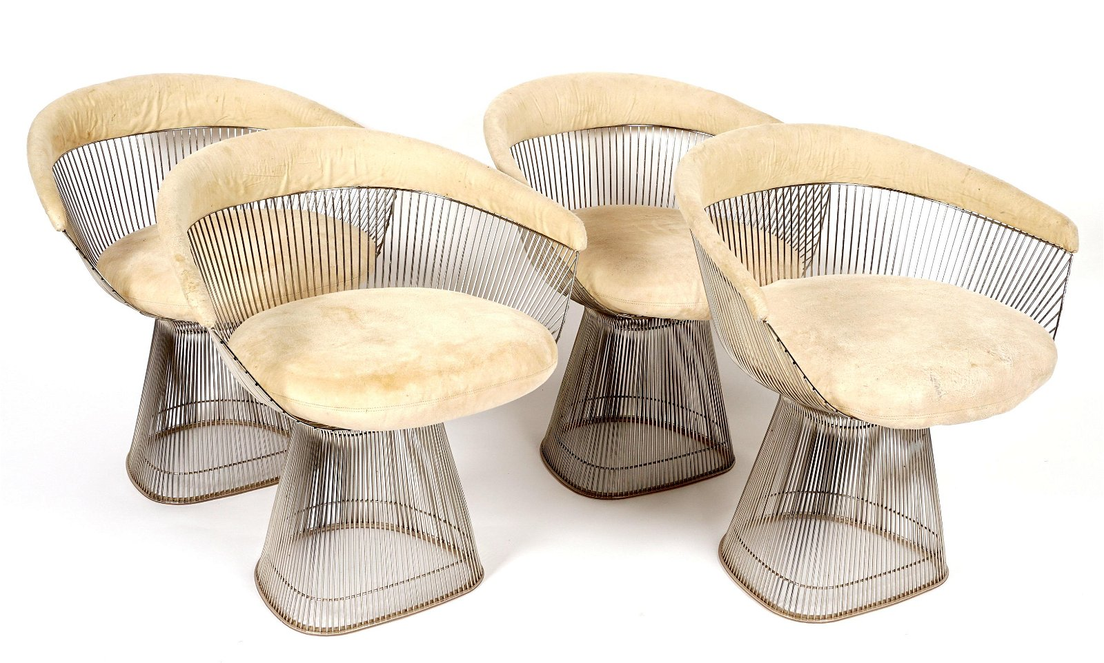 Four Warren Platner for Knoll Side Wire Chairs