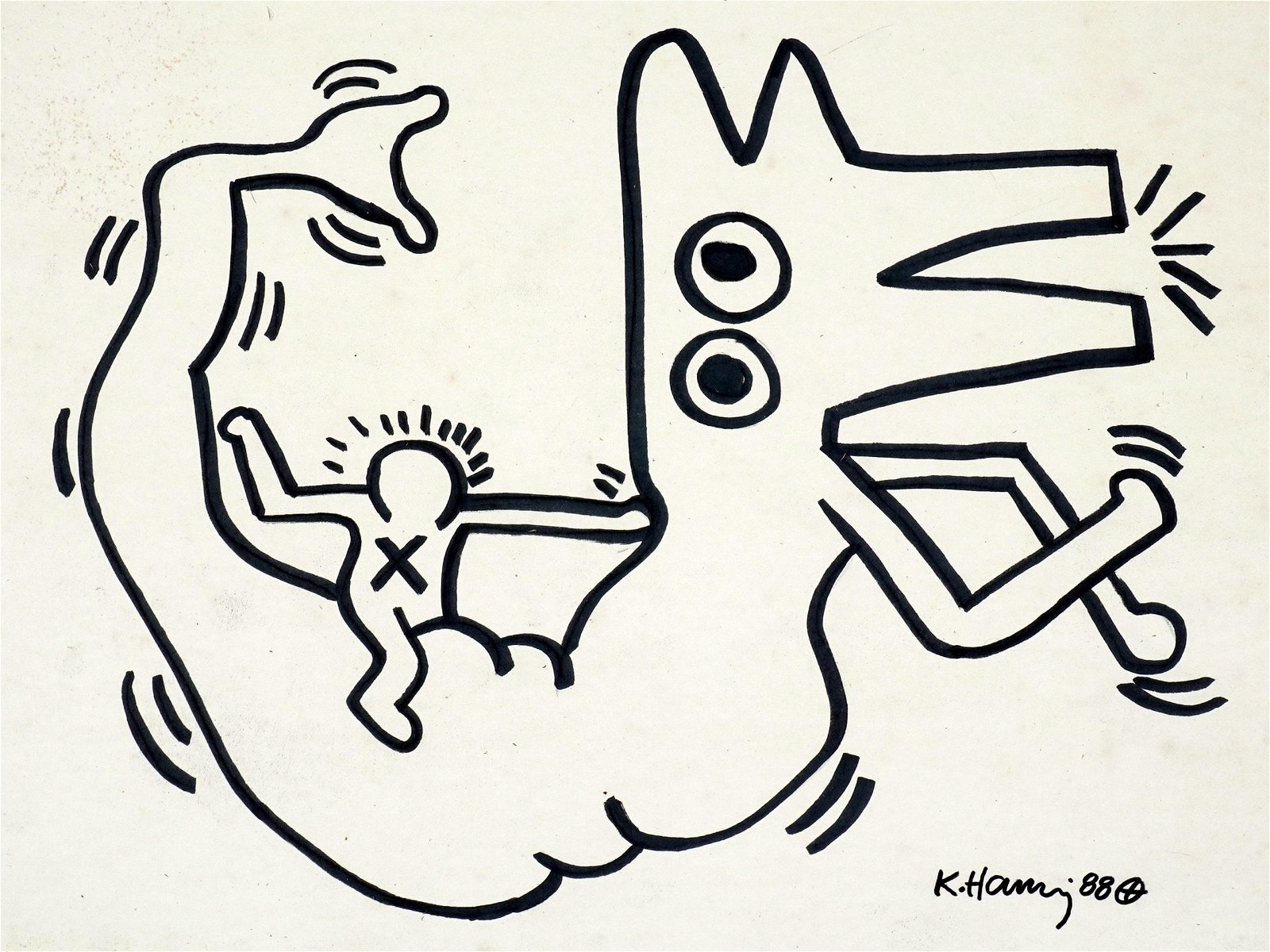 1988 attrib. Keith Haring Untitled Marker on Paper