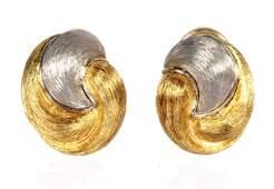 Pair Henry Dunay Sabi 18k  Platinum Ear Clips