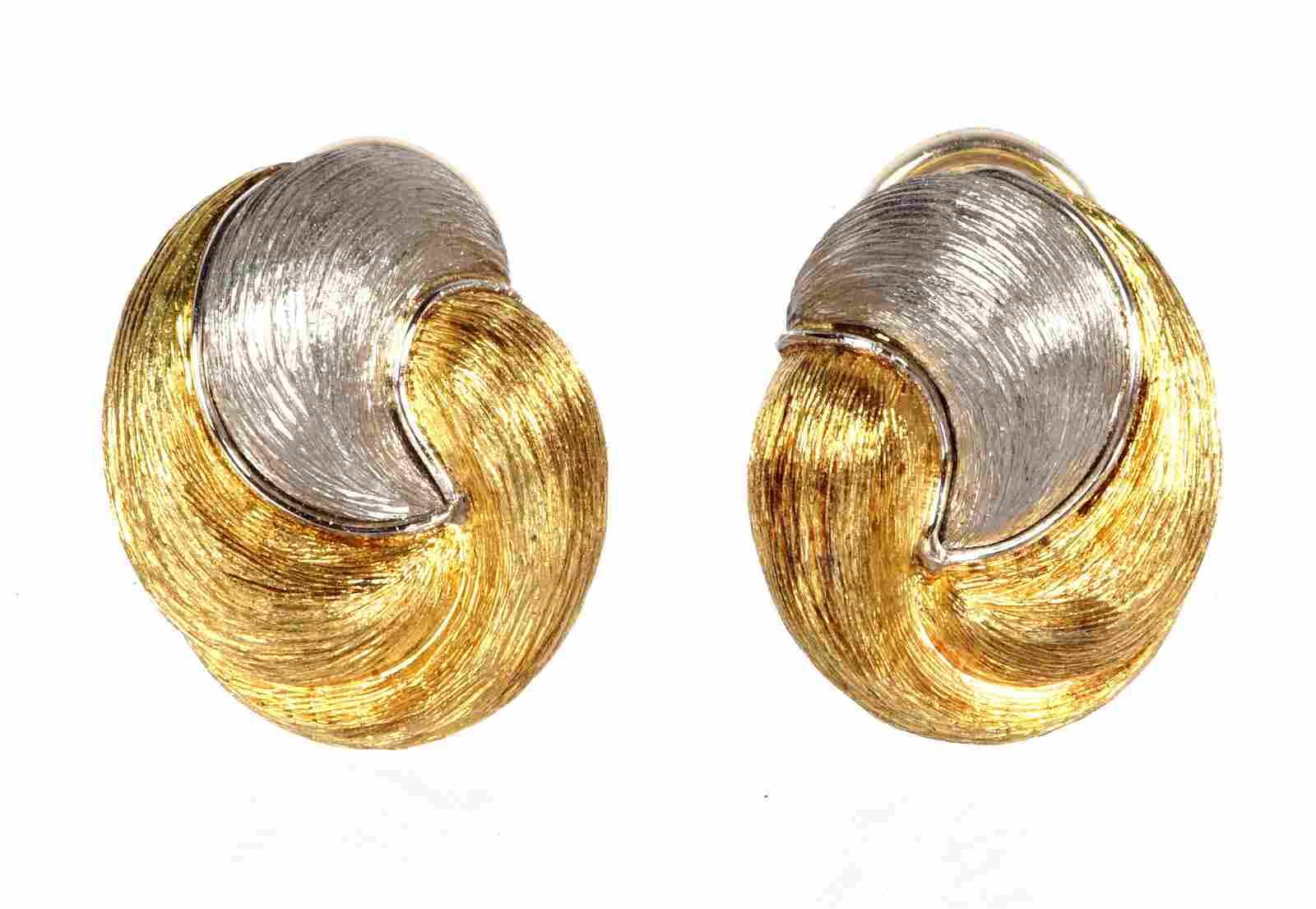 Pair Henry Dunay Sabi 18k & Platinum Ear Clips