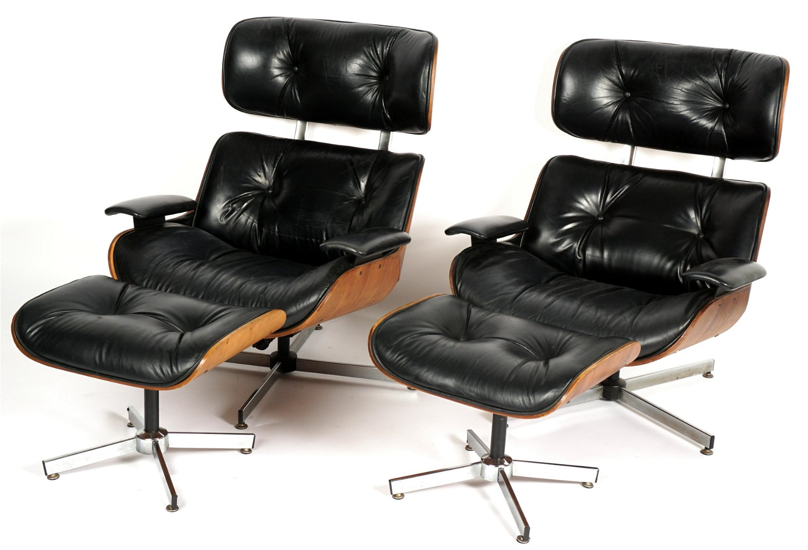 Pair Plycraft Eames Style Lounge Chairs & Ottomans