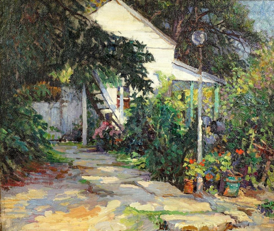 Rookwood Artist Grace Young Summer Cottage Oil/C