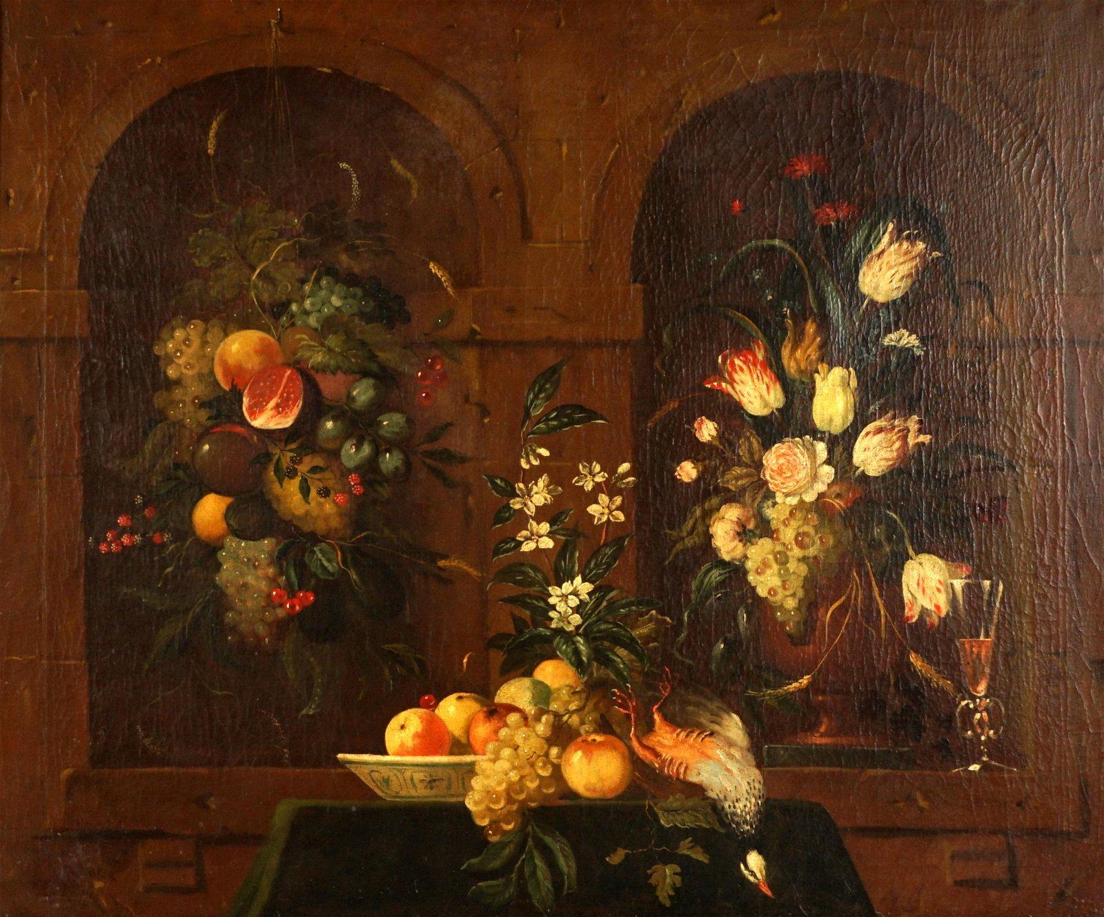 Large 18th Century Old Master Still Life Painting