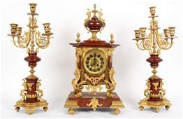 3 Piece French Marble  Gilt Bronze Mantle Clock
