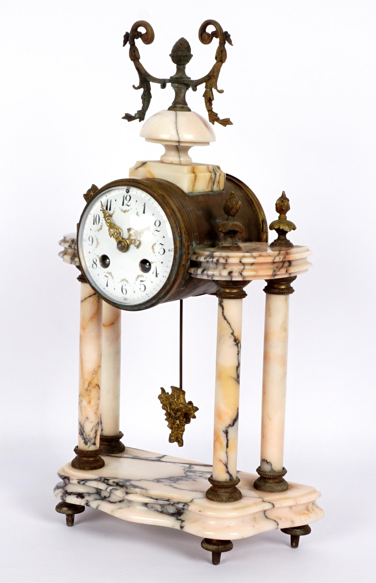 French Pink Marble Portico Mantle Clock