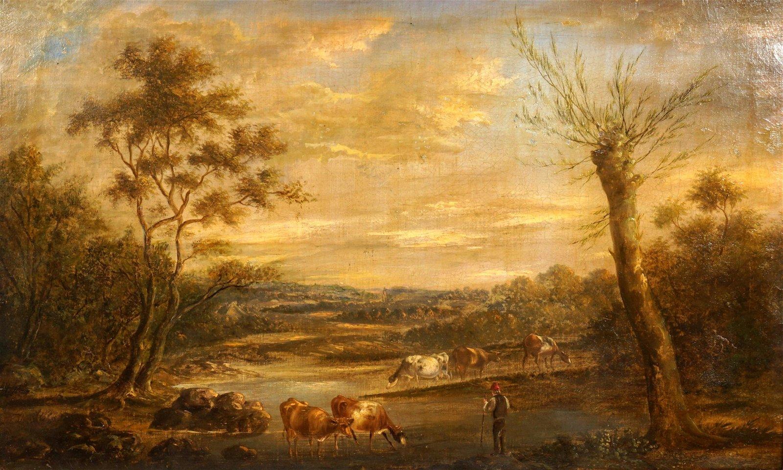 Thomas Creswick Landscape with Fisherman