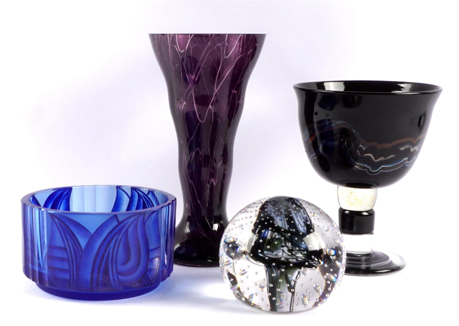 Four Piece Worldly Collection of Art Glass Items