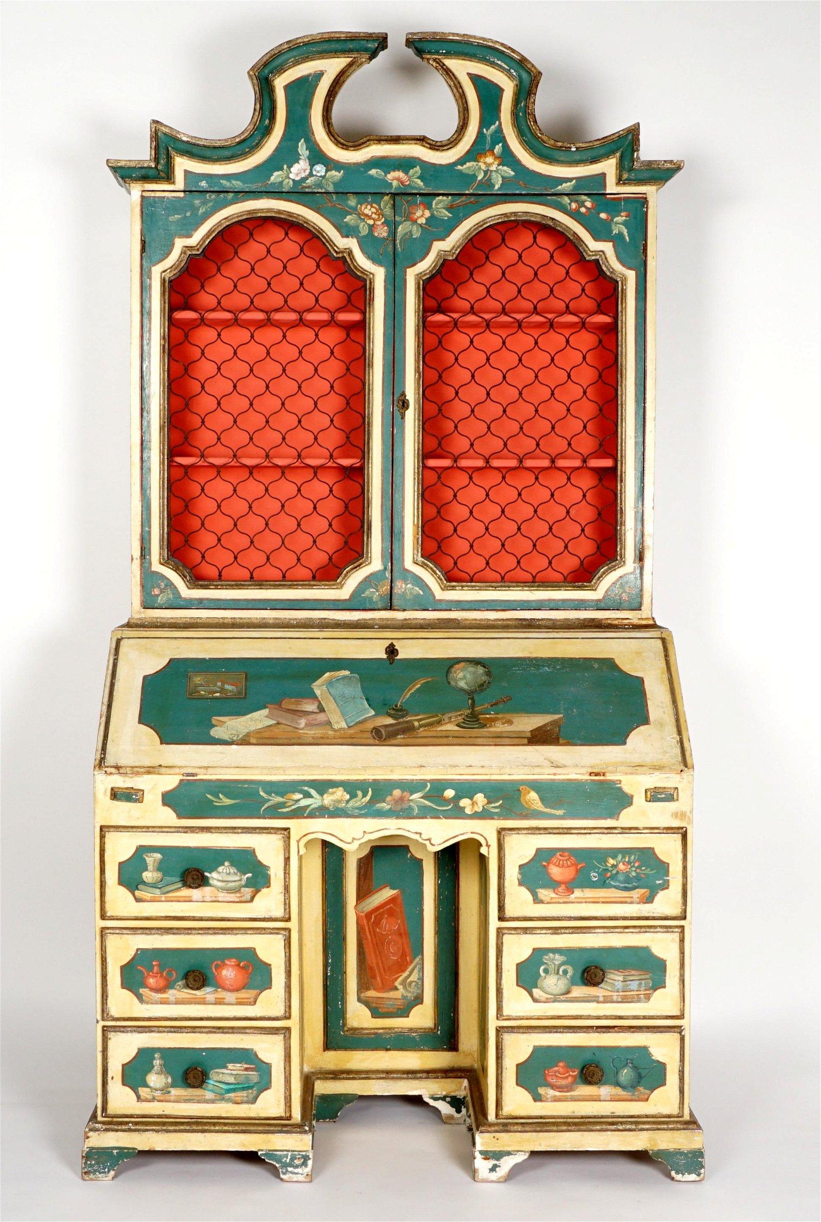 Italian Paint Decorated Secretary Bookcase