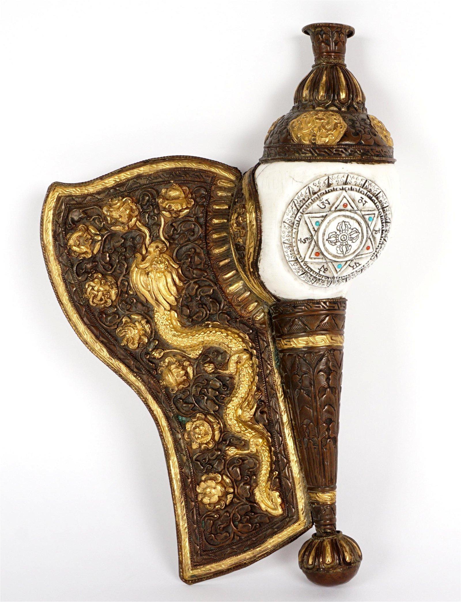 Tibetan Mixed Metal Ritual Conch Shell Trumpet