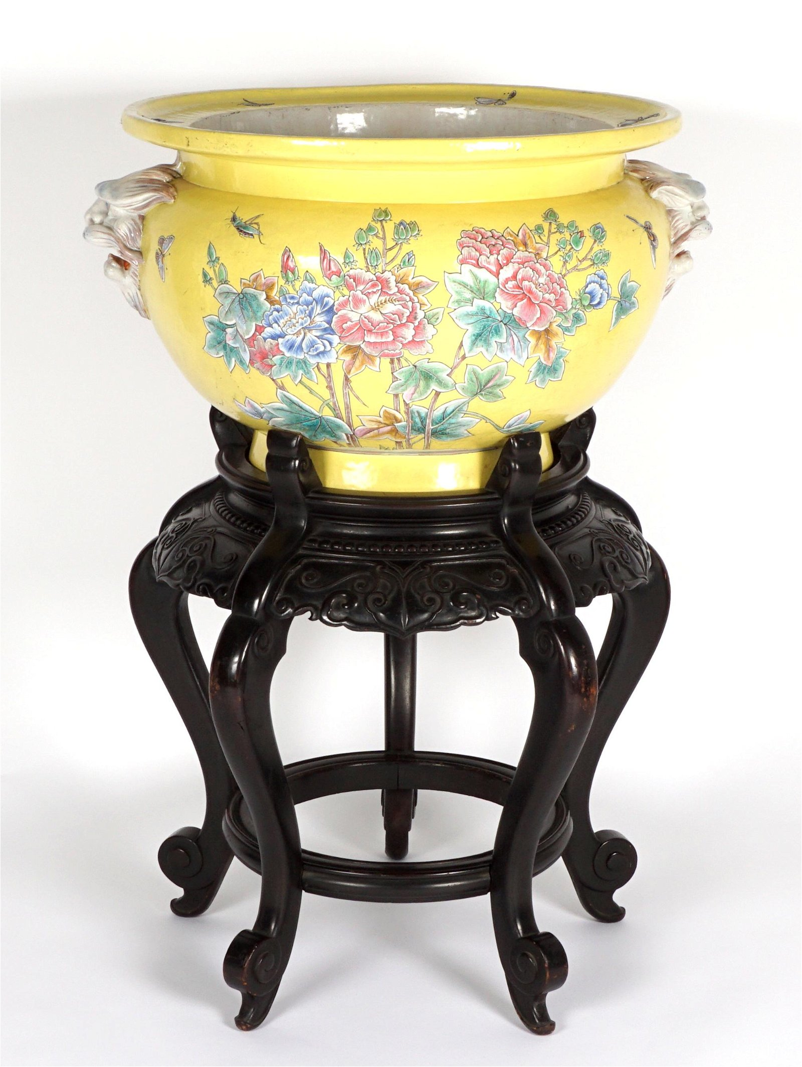 Large 19th C. French Pottery Jardiniere & Stand