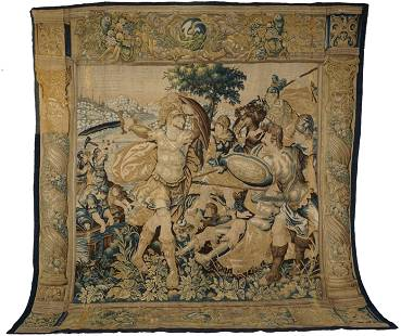 Large 17th C Siege of Tyre Flemish Tapestry