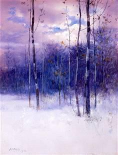 1900 John Elwood Bundy Winter Landscape Gouache