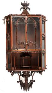 Chinese Chippendale Hanging Curio Cabinet