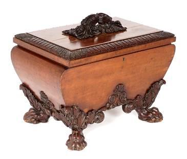 English Regency Carved Mahogany Cellarette