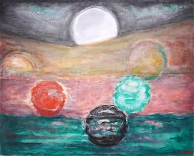 Large Robert Helman Planets Painting