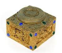 Tiffany Studios Gilt Bronze 9th Century Inkwell