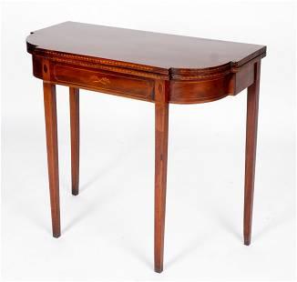 Thomas Howard Mahogany Inlaid Game Table