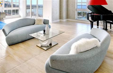 Blue Grey Solemyidae Sofa by Giorgetti