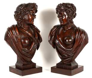Pair 18th C Italian Carved Semi Nude Female Busts