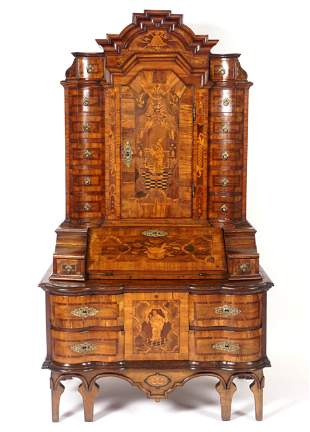 18th C. Continental Baroque Style Inlaid Secretary
