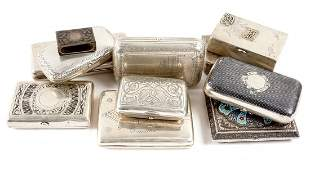 Collection of Ten Russian Silver Card Cases