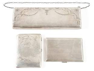 Three Piece Russian Silver Purse and Card Cases