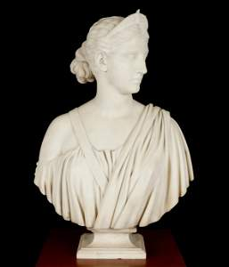 Hiram Powers Diana Carved Marble Bust