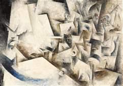 Large Robert Marc Cubist Composition Oil Painting