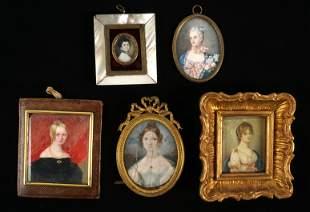 Five Continental Portrait Miniatures