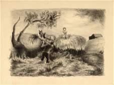 Jackson Pollock Stacking Hay Lithograph