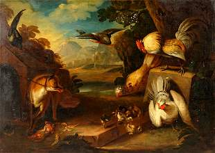 attrib Hondecoeter Landscape Fox Chickens Painting