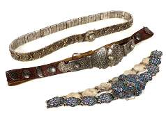 Three Russian Silver Niello and Enamel Belts