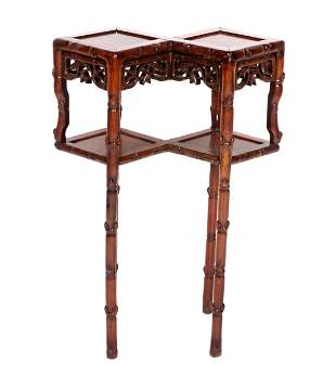 Unique Chinese Double Diamond Faux Bamboo Stand