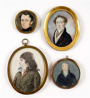 Collection of Four Continental Miniature Portraits