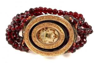 Victorian Garnet, Rose Gold, and Enamel Bracelet