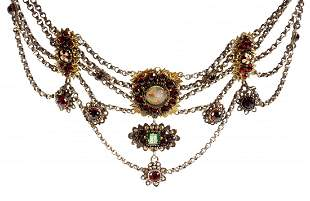 Victorian Garnet and Enamel Choker Necklace