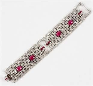 Stunning Art Deco Platinum, Diamond, Ruby Bracelet