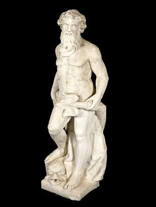 Large Poured Stone Figure of Poseidon / Neptune
