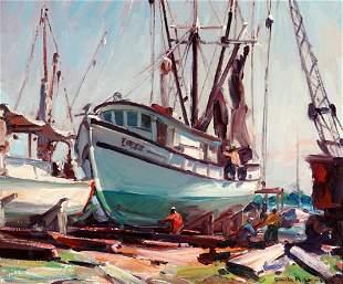 Emile Gruppe On the Ways Dockside Painting