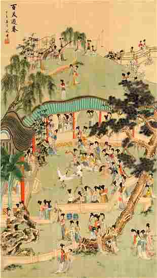 Large Chinese Scroll Depicting Women in Landscape