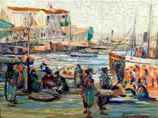 Sidney Miller Wiggens Harbor Scene Painting