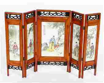 Chinese Porcelain Plaque Folding Table Screen