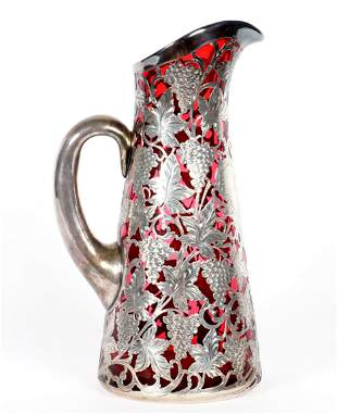 Alvin Silver Overlay Cranberry Glass Water Pitcher