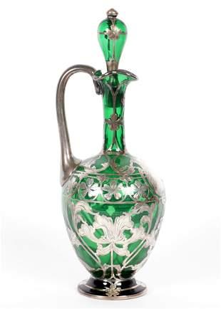 La Pierre Silver Overlay Green Glass Ewer