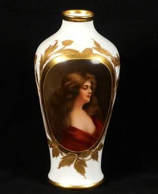 Royal Vienna Reflexion Portrait Vase Signed Wagner