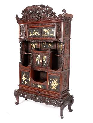 Japanese Carved and Inlaid Etagere on Stand